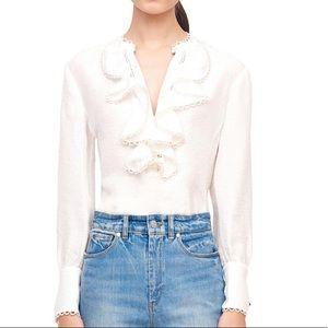 Rebecca Taylor silk white ruffle top, sz 10